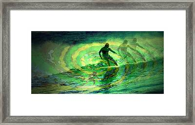 Surfing For The Gold Abstract Framed Print by Joyce Dickens