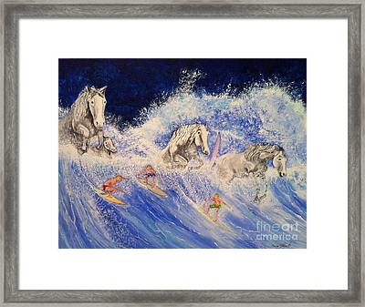 Surfing Horses Framed Print