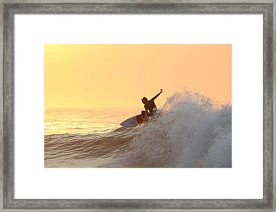 Framed Print featuring the photograph Surfing In Golden Sky by Robert Banach