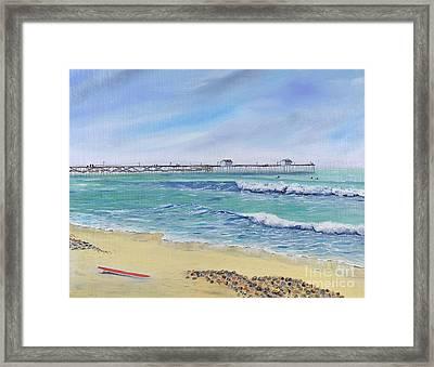 Surfing In San Clemente Framed Print