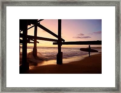 Surfing In The Sunset Framed Print by Ava Stepniewska PixelogyStudios