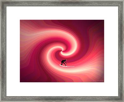 Surfing In The Sunset Two Framed Print by Joyce Dickens