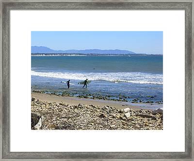 Surfing In Ventura Ca Framed Print by Robin Hernandez