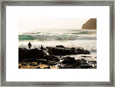Surfing Makapu Beach  Framed Print by MaryJane Armstrong