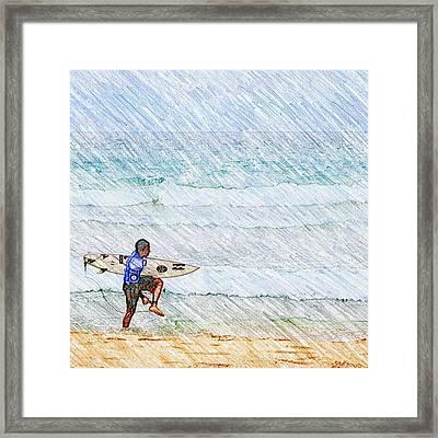 Surfer In Aus Framed Print by Daisuke Kondo