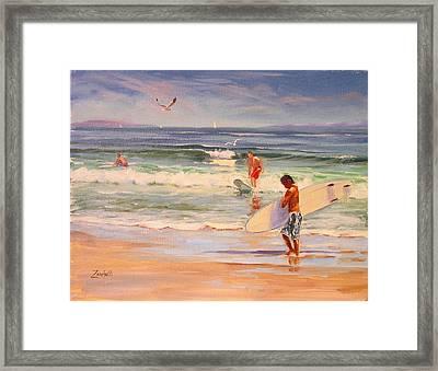 Surfing Nantasket Framed Print by Laura Lee Zanghetti