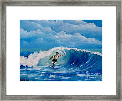 Surfing On The Waves Framed Print