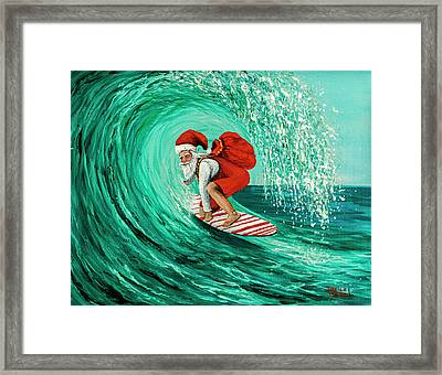 Framed Print featuring the painting Surfing Santa by Darice Machel McGuire