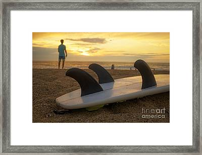 Surfing Sunset Framed Print by Edward Fielding