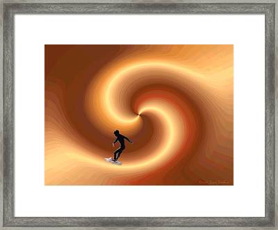 Surfing The Golden Hour Framed Print by Joyce Dickens