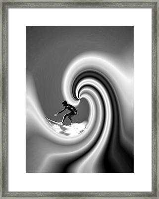 Surfing The Pacific In Black And White Framed Print by Joyce Dickens