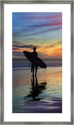 Surfing The Shadows Of Light Portrait Framed Print