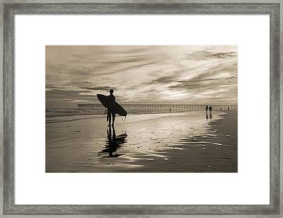 Surfing The Shadows Of Light Sepia Framed Print