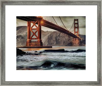 Surfing The Shadows Of The Golden Gate Bridge Framed Print