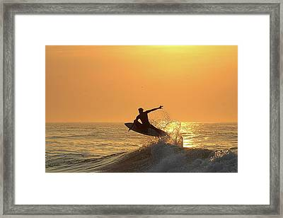 Framed Print featuring the photograph Surfing To The Sky by Robert Banach
