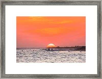 Surfing Together Framed Print