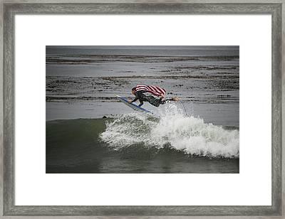 Surfline Flying Flag Winning Shot Framed Print by Brant Schenk