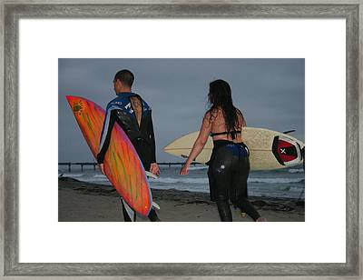 Surfrers Framed Print by Brenda Myers