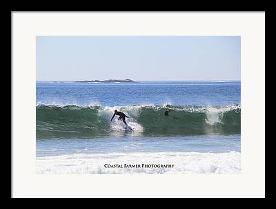 Surfing Maine Framed Prints