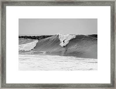 Surf's Up Bw Framed Print by Eddie Yerkish