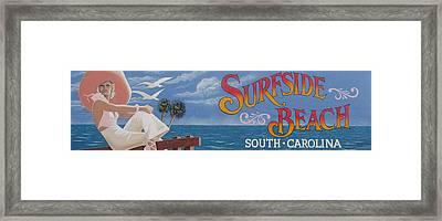 Surfside Beach Sign Framed Print by Barbara McDevitt