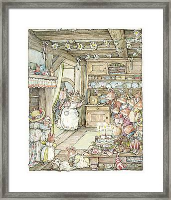 Surprise At Mayblossom Cottage Framed Print by Brambly Hedge