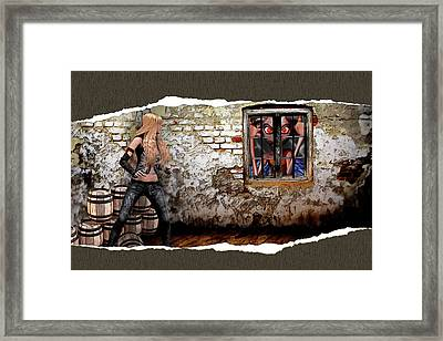 Surprise At The Window Framed Print