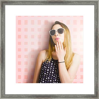 Surprise Beauty Girl On Pink Salon Wall Framed Print by Jorgo Photography - Wall Art Gallery