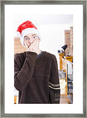 Surprise Christmas Man Framed Print