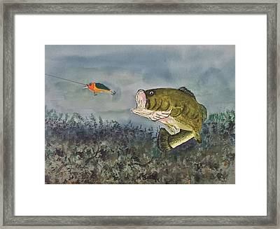 Framed Print featuring the painting Surprise Coming by Donald Paczynski
