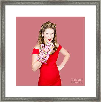 Surprise Cooking Pinup Woman With Cook Mitt Framed Print by Jorgo Photography - Wall Art Gallery