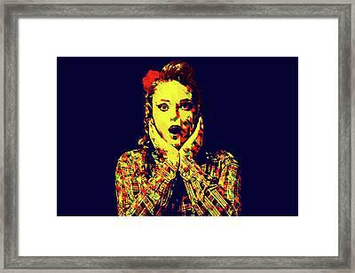 Surprise Girl Pop Art Framed Print by Elena Riim