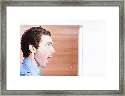 Surprised Advert Man Looking In Shock To Copyspace Framed Print by Jorgo Photography - Wall Art Gallery