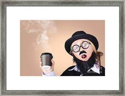 Surprised Business Person High On Coffee Framed Print by Jorgo Photography - Wall Art Gallery