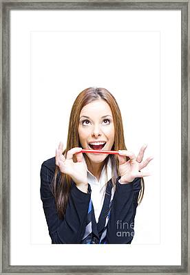 Surprised Business Woman Looking Up At Copy Space Framed Print
