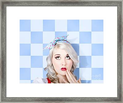 Surprised Face Of A Young Cosmetic Pinup Woman Framed Print