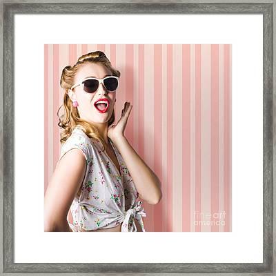 Surprised Girl In Retro Fashion Style Glamur Framed Print
