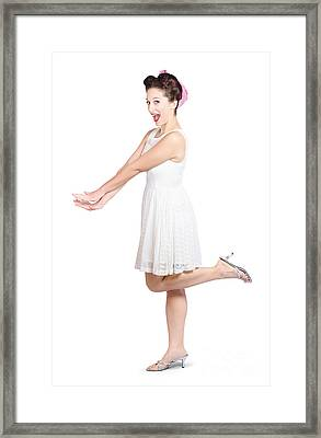 Surprised Housewife Kicking Up Leg In White Dress Framed Print by Jorgo Photography - Wall Art Gallery