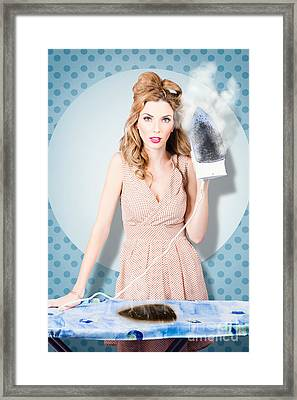 Surprised Housewife With Burnt Out Ironing Board Framed Print