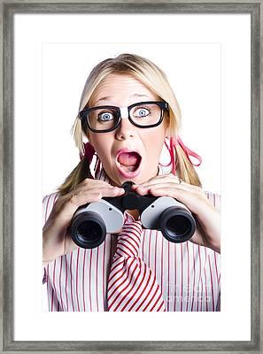 Surprised Nerd Looking To Future With Binoculars Framed Print