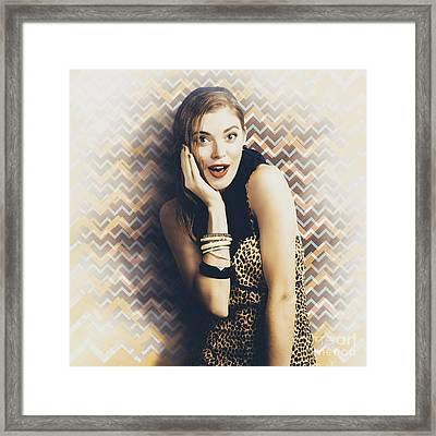 Surprised Pin Up Girl Gasping Out Shear Joy Framed Print