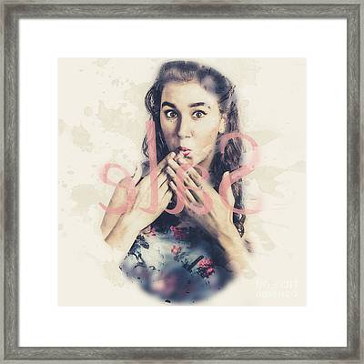 Surprised Pin Up Window Shopper At Store Sale Framed Print by Jorgo Photography - Wall Art Gallery