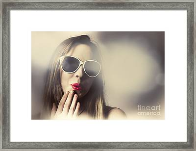 Surprised Pinup Girl In Retro Fashion Makeup Framed Print by Jorgo Photography - Wall Art Gallery
