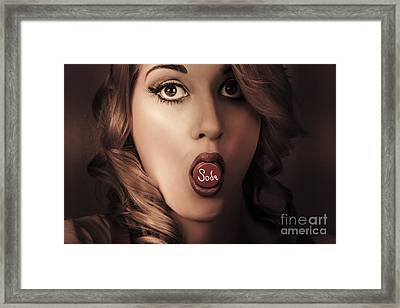 Surprised Portrait Of A Vintage Pinup Soda Girl Framed Print by Jorgo Photography - Wall Art Gallery