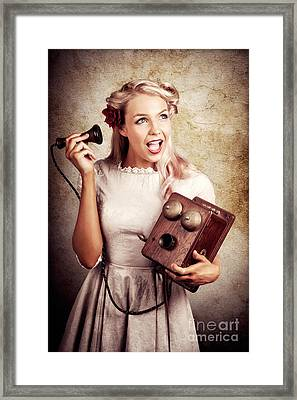 Surprised Telephone Operator With Good Or Bad News Framed Print by Jorgo Photography - Wall Art Gallery