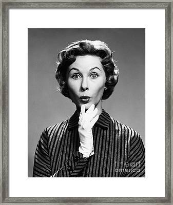 Surprised Woman, C.1950s-60s Framed Print by Debrocke/ClassicStock