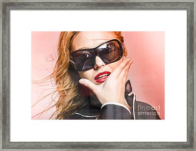Surprised Young Woman Wearing Fashion Sunglasses Framed Print by Jorgo Photography - Wall Art Gallery