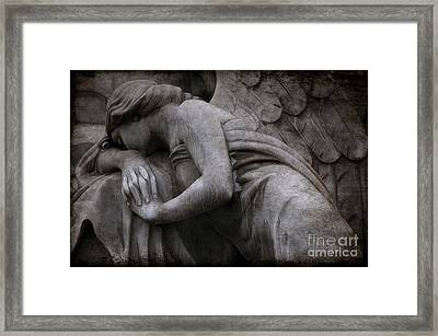 Angel In Mourning At Grave - Surreal Beautiful Angel Weeping Cemetery Art Framed Print by Kathy Fornal