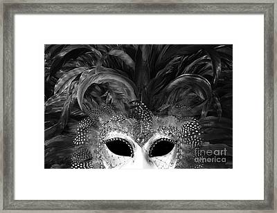 Surreal Black White Mask - Gothic Surreal Costume Black Mask - Surreal Masquerade Face Mask  Framed Print by Kathy Fornal
