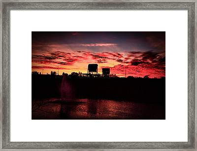 Surreal Bridge And Fountain Framed Print